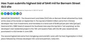 Hao-Yuan-submits-highest-bid-of-$441m-for-bernam-street